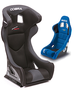 Cobra and Sparco, black and blue seats.