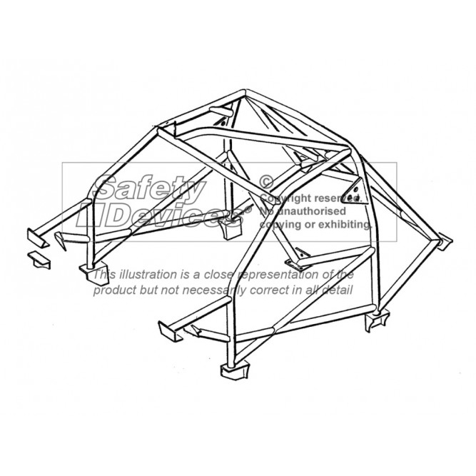 Safety Devices Nissan Sunny Gti R 8 Point Bolt In Roll Cage With