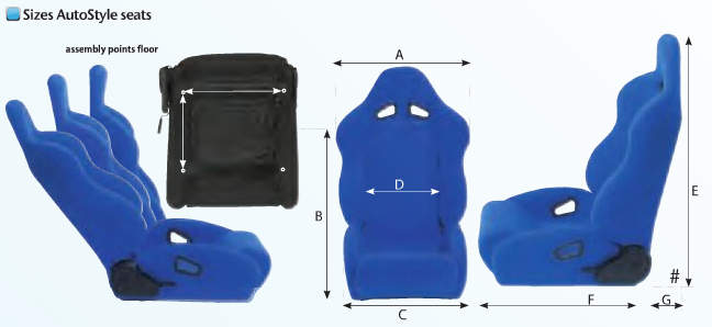 Auto Style seat information and dimensions
