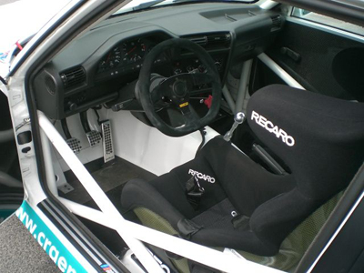 Recaro bucket seats fitted into a BMW E30 sports saloon