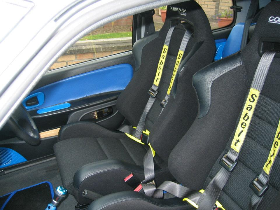 Corbeau seats fitted into a Citroen Saxo VTR