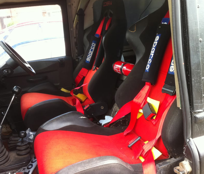 Cobra Daytona racing seats fitted into a Land Rover Defender