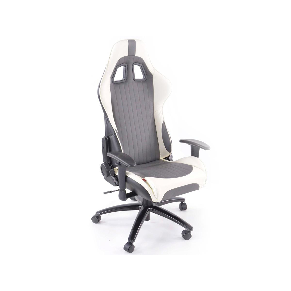 FK Automotive Racecar Executive Grey White Racing Office Chair GSM Sport Seats