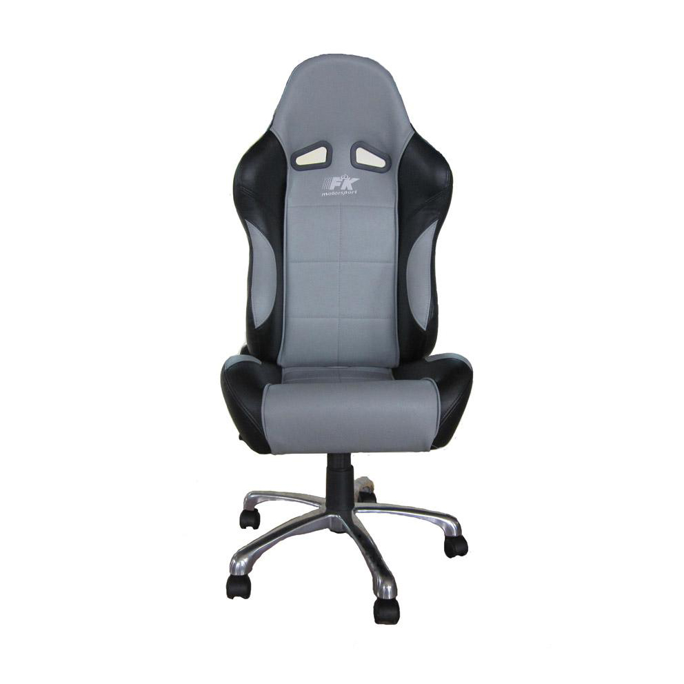 fk automotive basic black grey racing office chair gsm
