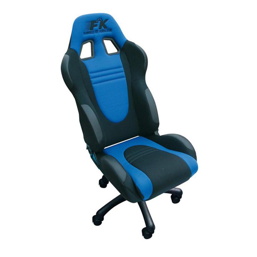 fk automotive racecar black blue racing office chair gsm