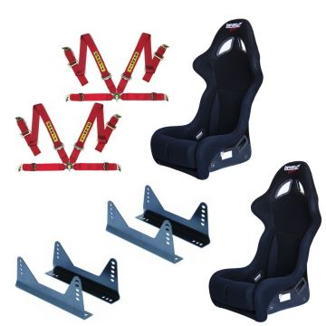 Bimarco Futura FIA Bucket seats, side mounts and Sabelt 4 point harnesses