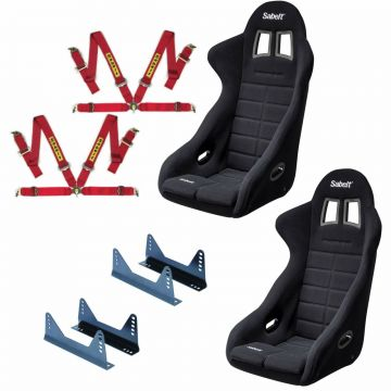 Sabelt GT-090 FIA Bucket seats, side mounts and Sabelt 4 point harnesses