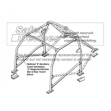 Safety Devices Honda Integra Type-R DC2 Multipoint Bolt-In Roll Cage