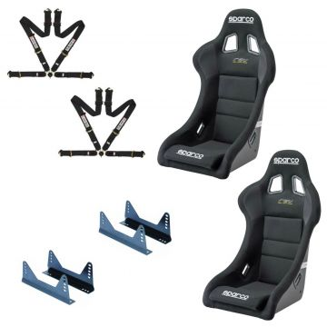 Sparco Rev FIA Bucket seats, side mounts and L-Tec 4 point harnesses