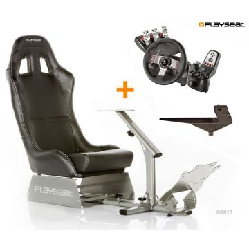 PlaySeats Evolution Black Vinyl Gaming Race Seat with Gearshift Holder Pro and Logitech G27