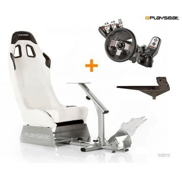 PlaySeats Evolution White Vinyl Gaming Race Seat with Gearshift Holder Pro and Logitech G27