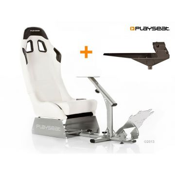PlaySeats Evolution White Vinyl Gaming Race Seat with Gearshift Holder Pro