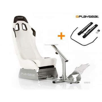PlaySeats Evolution White Vinyl Gaming Race Seat with Seat Slider