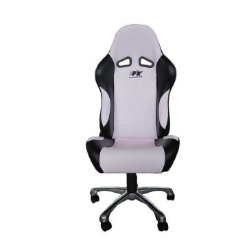 FK Automotive Basic Black/White Racing Office Chair