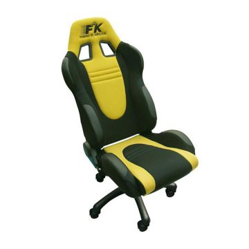 FK Automotive Racecar Black/Yellow Racing Office Chair