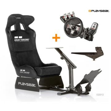 PlaySeats Gran Turismo Gaming Race Seat with Logitech G27 and Gearshift Holder Pro
